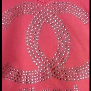 Womans Chanel pink rhinestone CC logo too size L M